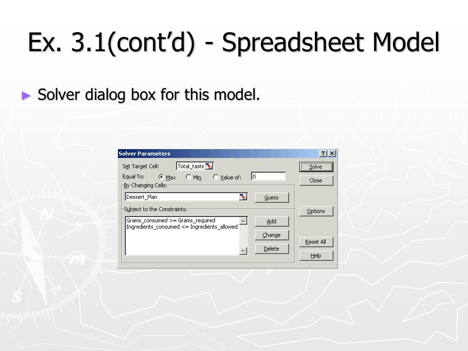 Ex. 3.1(contd) - Spreadsheet Model Solver dialog box for this model. Solver dialog box for this model.