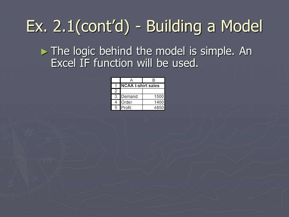Ex. 2.1(contd) - Building a Model The logic behind the model is simple. An Excel IF function will be used. The logic behind the model is simple. An Ex