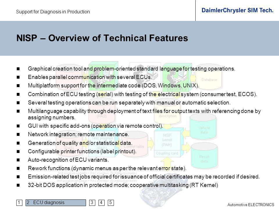 Support for Diagnosis in Production Automotive ELECTRONICS NISP – Overview of Technical Features Graphical creation tool and problem-oriented standard language for testing operations.