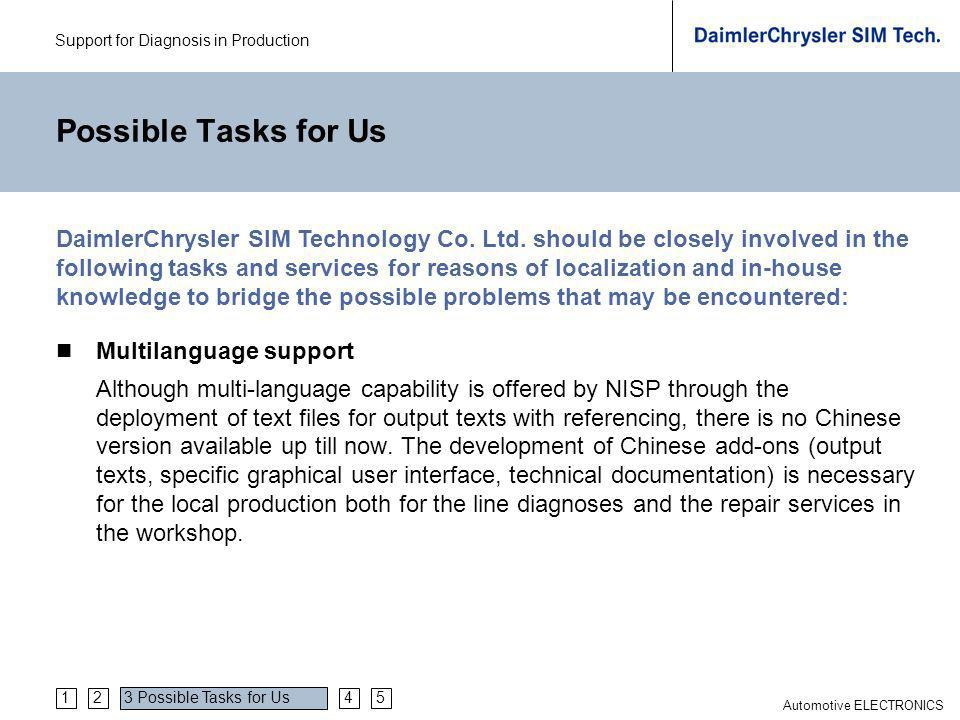 Support for Diagnosis in Production Automotive ELECTRONICS Possible Tasks for Us Multilanguage support Although multi-language capability is offered by NISP through the deployment of text files for output texts with referencing, there is no Chinese version available up till now.