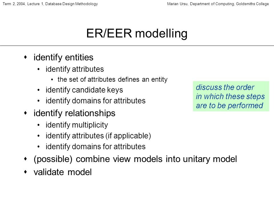 Term 2, 2004, Lecture 1, Database Design MethodologyMarian Ursu, Department of Computing, Goldsmiths College ER/EER modelling sidentify entities identify attributes the set of attributes defines an entity identify candidate keys identify domains for attributes sidentify relationships identify multiplicity identify attributes (if applicable) identify domains for attributes s(possible) combine view models into unitary model svalidate model discuss the order in which these steps are to be performed