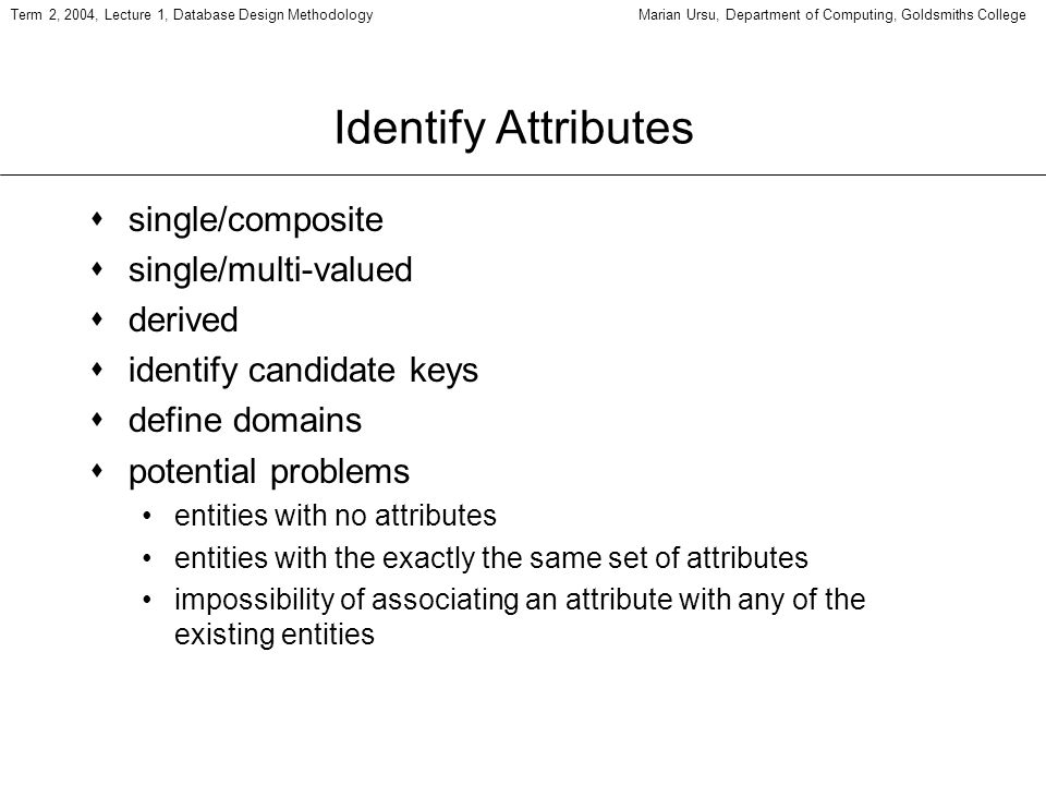 Term 2, 2004, Lecture 1, Database Design MethodologyMarian Ursu, Department of Computing, Goldsmiths College Identify Attributes ssingle/composite ssingle/multi-valued sderived sidentify candidate keys sdefine domains spotential problems entities with no attributes entities with the exactly the same set of attributes impossibility of associating an attribute with any of the existing entities