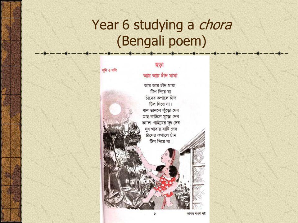 Year 6 studying a chora (Bengali poem)