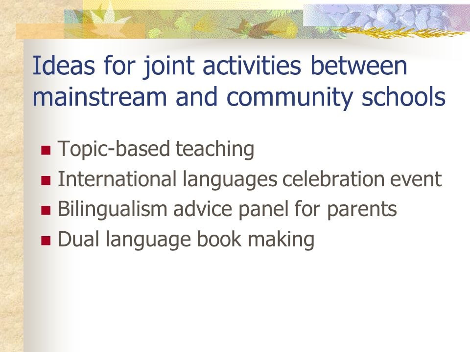 Ideas for joint activities between mainstream and community schools Topic-based teaching International languages celebration event Bilingualism advice panel for parents Dual language book making