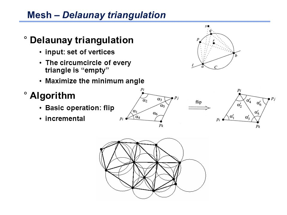 Mesh – Delaunay triangulation °Delaunay triangulation input: set of vertices The circumcircle of every triangle is empty Maximize the minimum angle °A