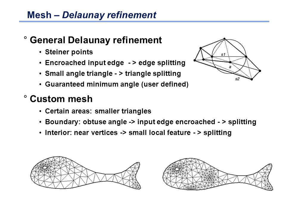 Mesh – Delaunay refinement °General Delaunay refinement Steiner points Encroached input edge - > edge splitting Small angle triangle - > triangle spli