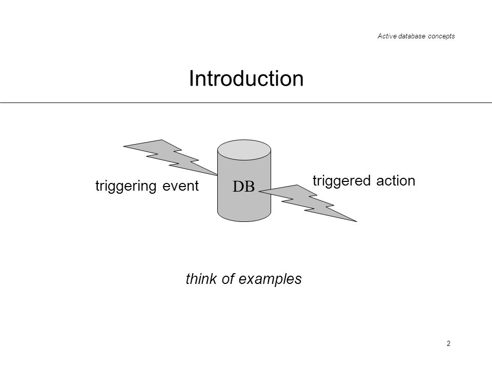 2 Introduction DB triggering event triggered action think of examples