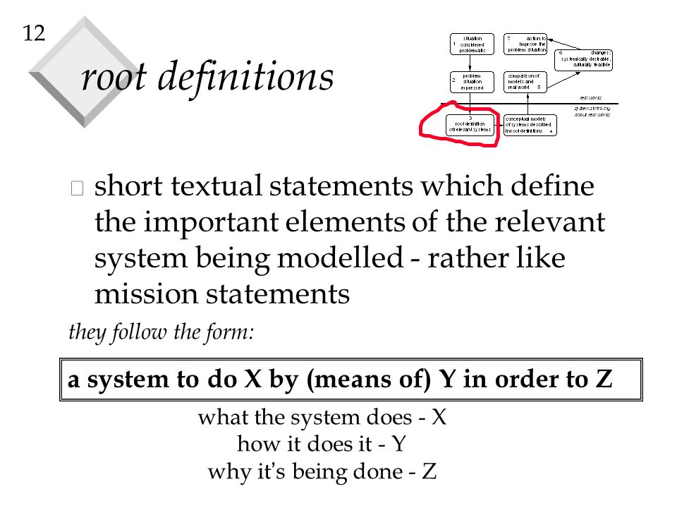 12 root definitions a system to do X by (means of) Y in order to Z they follow the form: v short textual statements which define the important element