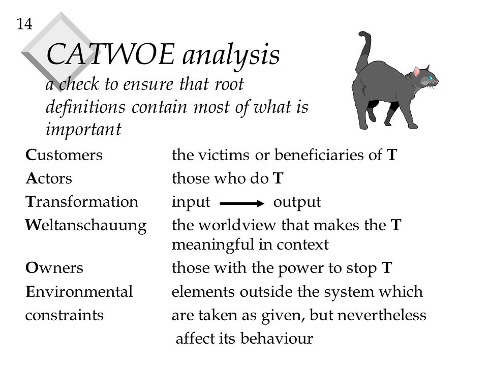 14 CATWOE analysis a check to ensure that root definitions contain most of what is important C ustomersthe victims or beneficiaries of T A ctorsthose who do T T ransformation input output W eltanschauungthe worldview that makes the T meaningful in context O wnersthose with the power to stop T E nvironmental elements outside the system which constraints are taken as given, but nevertheless affect its behaviour