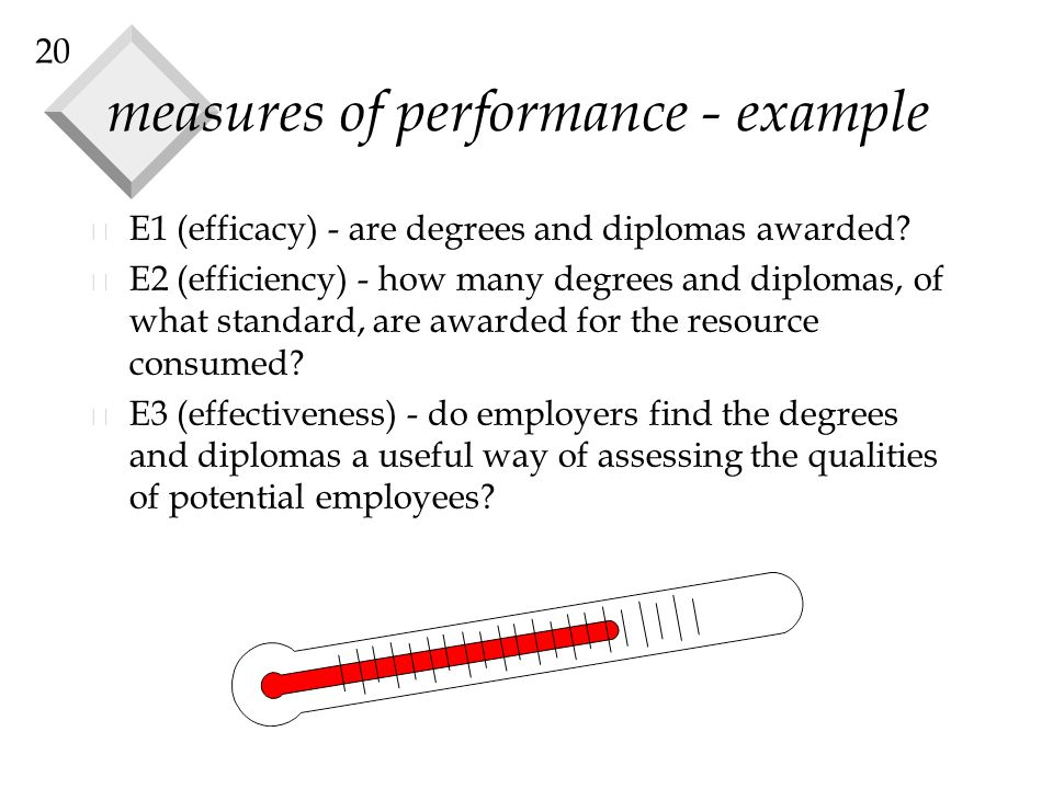 20 measures of performance - example v E1 (efficacy) - are degrees and diplomas awarded.