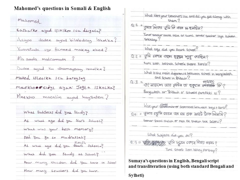 Mahomeds questions in Somali & English Sumayas questions in English, Bengali script and transliteration (using both standard Bengali and Sylheti)