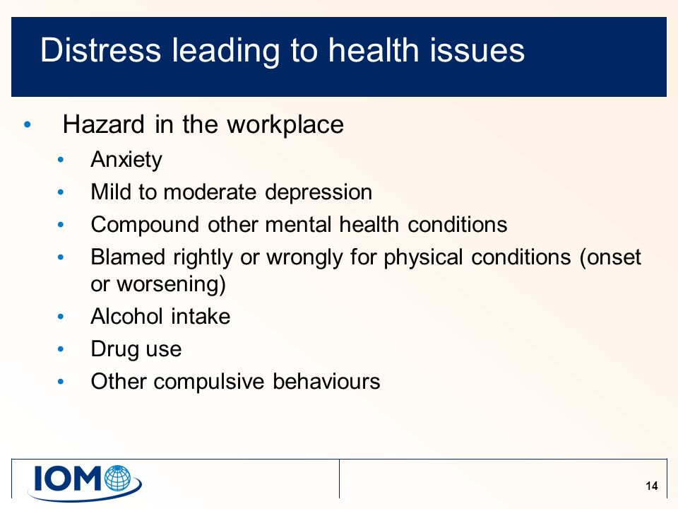 14 Distress leading to health issues Hazard in the workplace Anxiety Mild to moderate depression Compound other mental health conditions Blamed rightly or wrongly for physical conditions (onset or worsening) Alcohol intake Drug use Other compulsive behaviours
