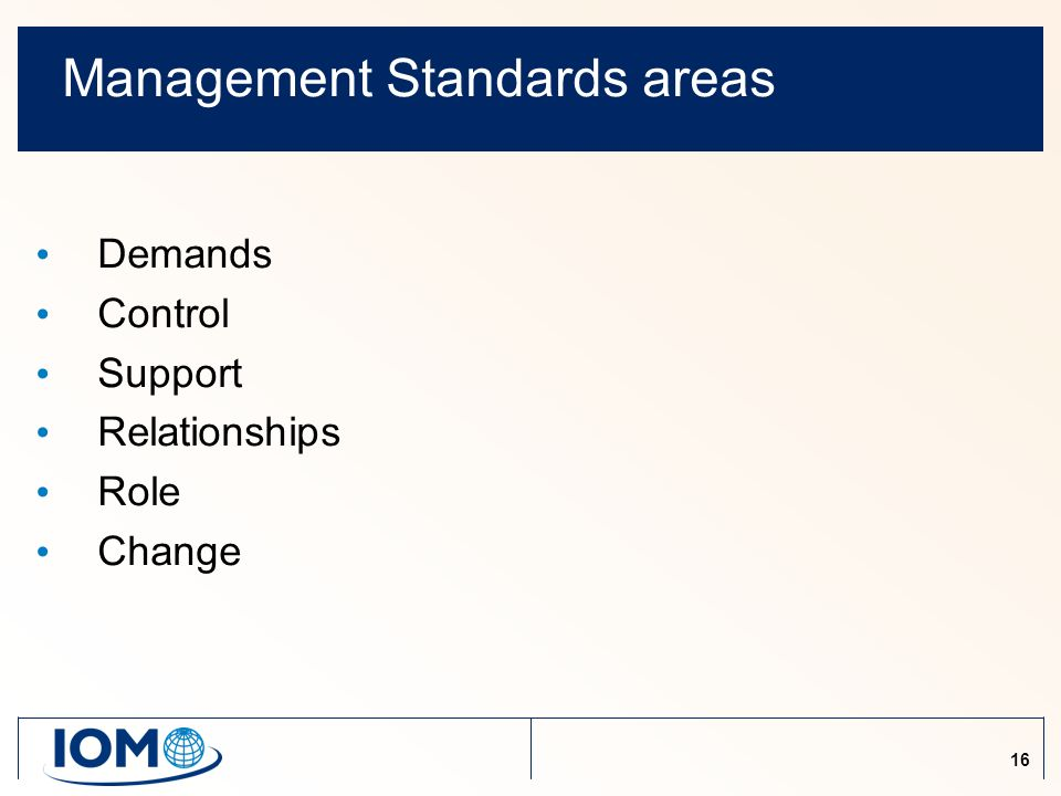 16 Management Standards areas Demands Control Support Relationships Role Change