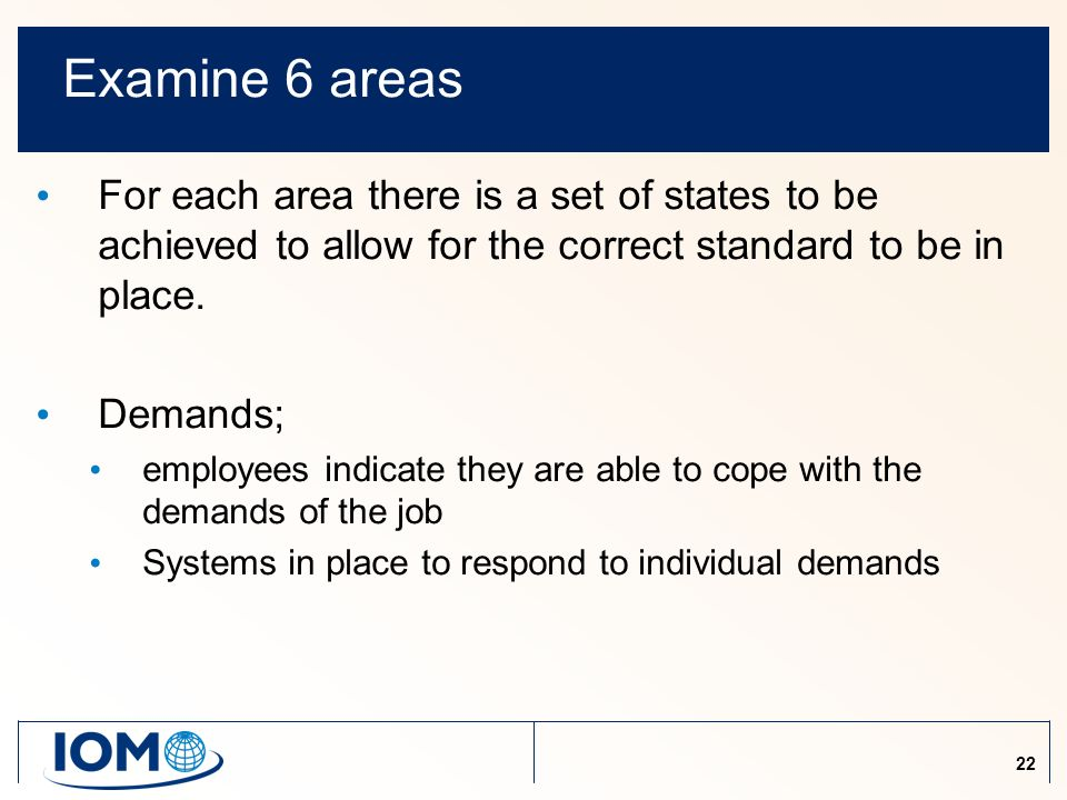 22 Examine 6 areas For each area there is a set of states to be achieved to allow for the correct standard to be in place.