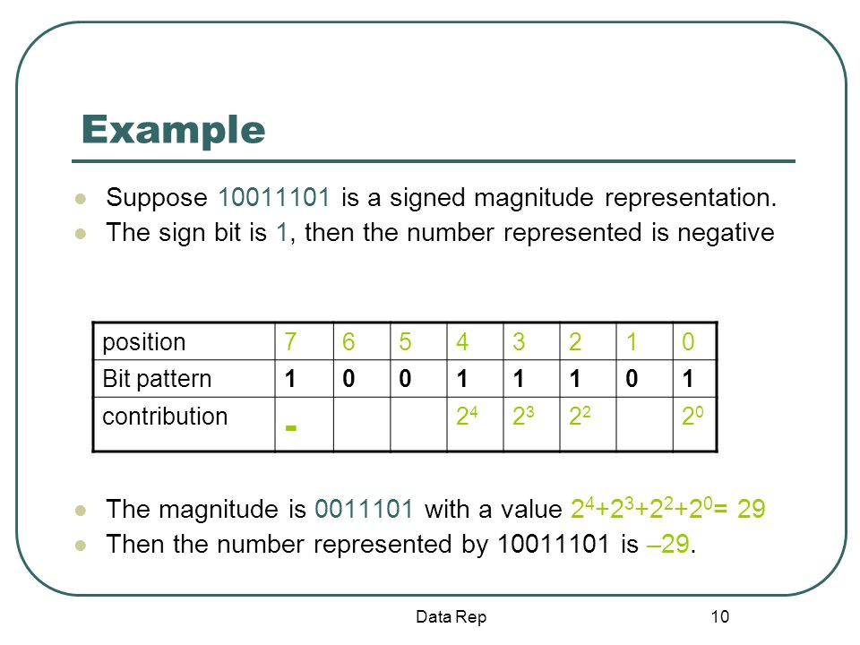 10 Example Suppose 10011101 is a signed magnitude representation. The sign bit is 1, then the number represented is negative The magnitude is 0011101