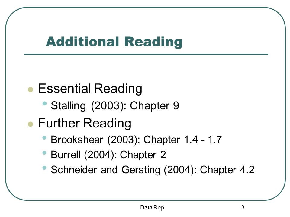 3 Additional Reading Essential Reading Stalling (2003): Chapter 9 Further Reading Brookshear (2003): Chapter 1.4 - 1.7 Burrell (2004): Chapter 2 Schne