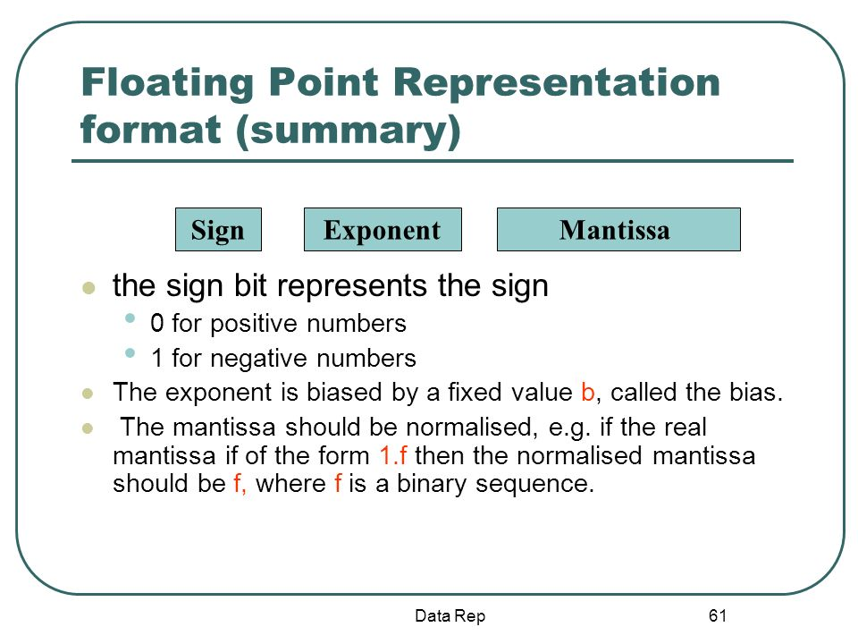 61 Floating Point Representation format (summary) the sign bit represents the sign 0 for positive numbers 1 for negative numbers The exponent is biase