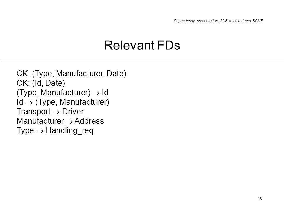 Dependency preservation, 3NF revisited and BCNF 10 Relevant FDs CK: (Type, Manufacturer, Date) CK: (Id, Date) (Type, Manufacturer) Id Id (Type, Manufa
