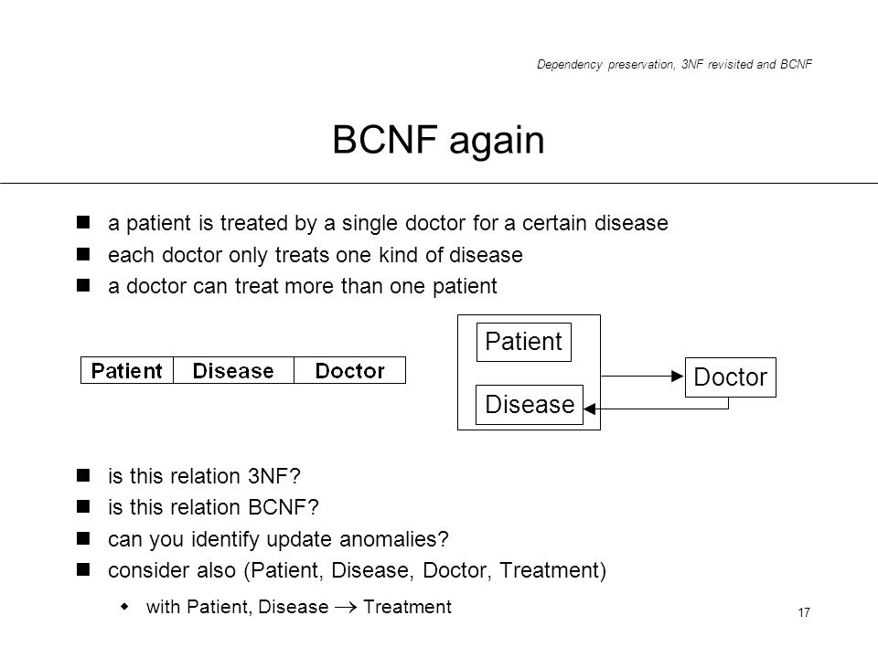 Dependency preservation, 3NF revisited and BCNF 17 a patient is treated by a single doctor for a certain disease each doctor only treats one kind of d