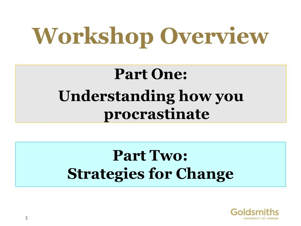 3 Workshop Overview Part One: Understanding how you procrastinate Part Two: Strategies for Change