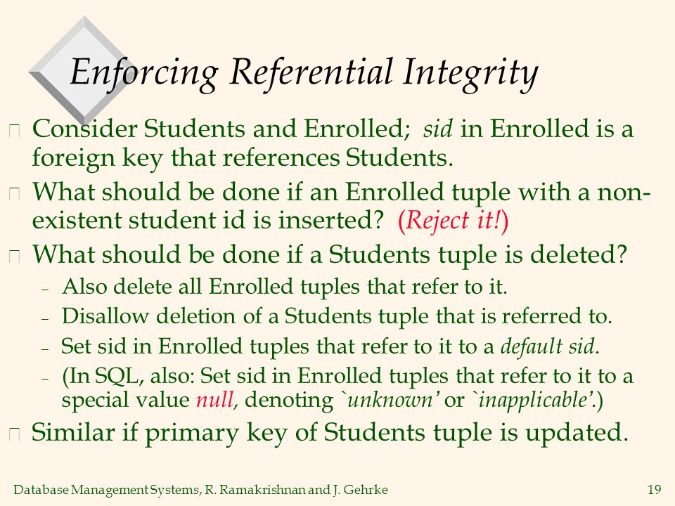 Database Management Systems, R. Ramakrishnan and J. Gehrke19 Enforcing Referential Integrity v Consider Students and Enrolled; sid in Enrolled is a fo