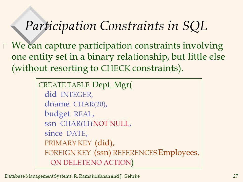 Database Management Systems, R. Ramakrishnan and J. Gehrke27 Participation Constraints in SQL v We can capture participation constraints involving one