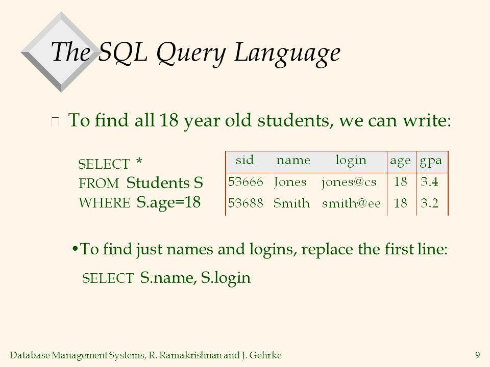 Database Management Systems, R. Ramakrishnan and J. Gehrke9 The SQL Query Language v To find all 18 year old students, we can write: SELECT * FROM Stu