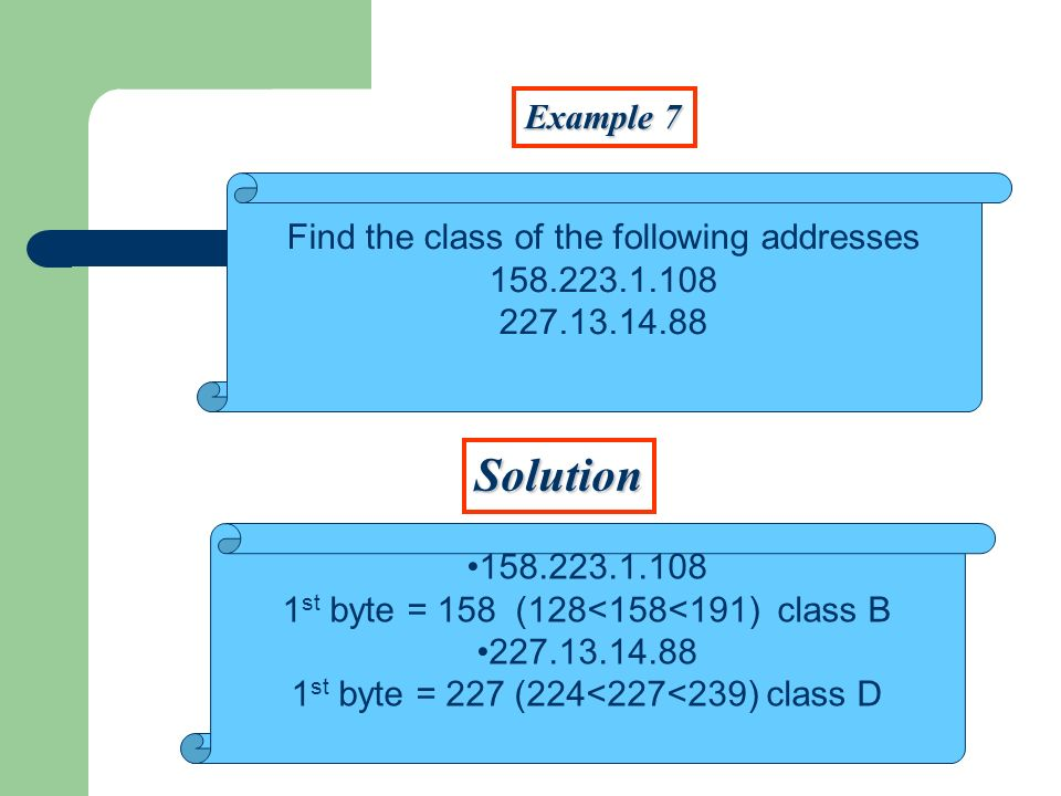Example 7 Solution Find the class of the following addresses 158.223.1.108 227.13.14.88 158.223.1.108 1 st byte = 158 (128<158<191) class B 227.13.14.