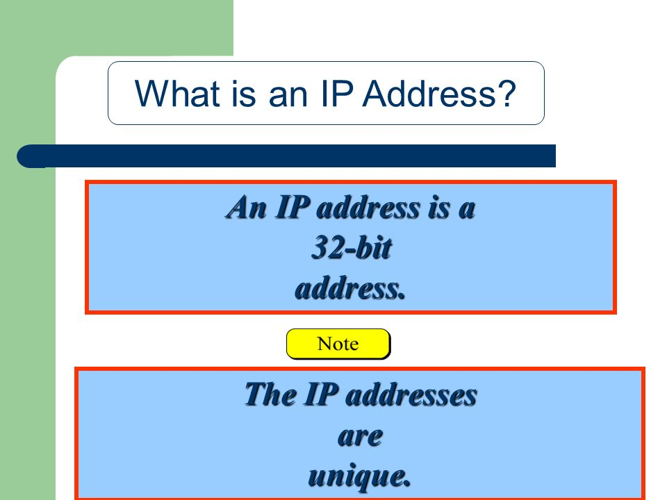 An IP address is a 32-bit address. What is an IP Address? The IP addresses are unique.