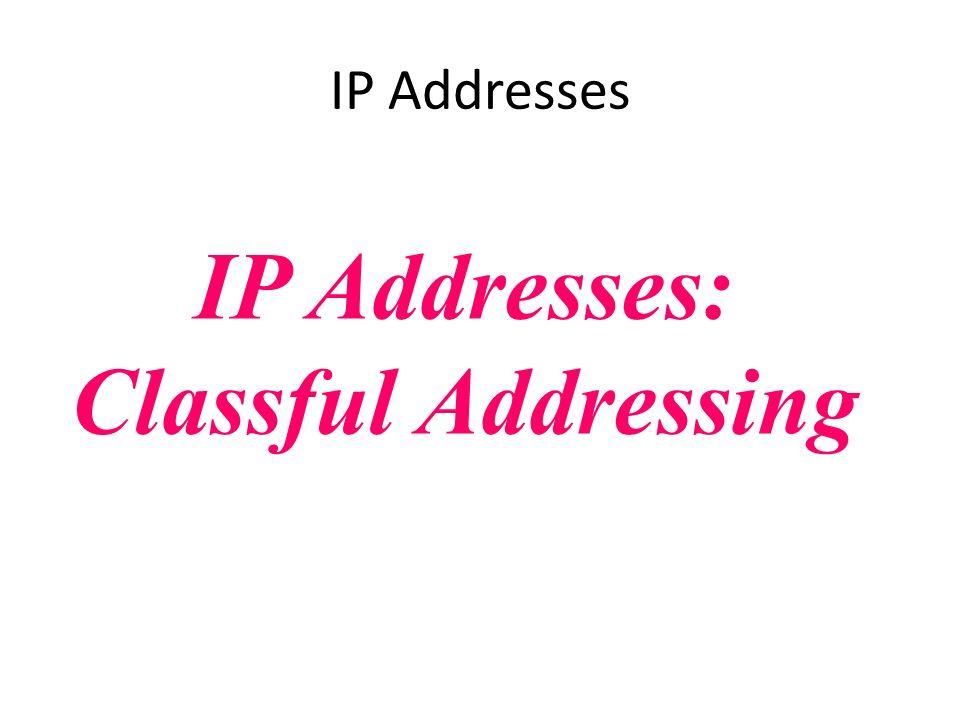 IP Addresses: Classful Addressing IP Addresses