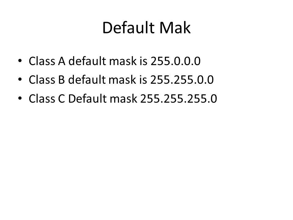 Default Mak Class A default mask is 255.0.0.0 Class B default mask is 255.255.0.0 Class C Default mask 255.255.255.0