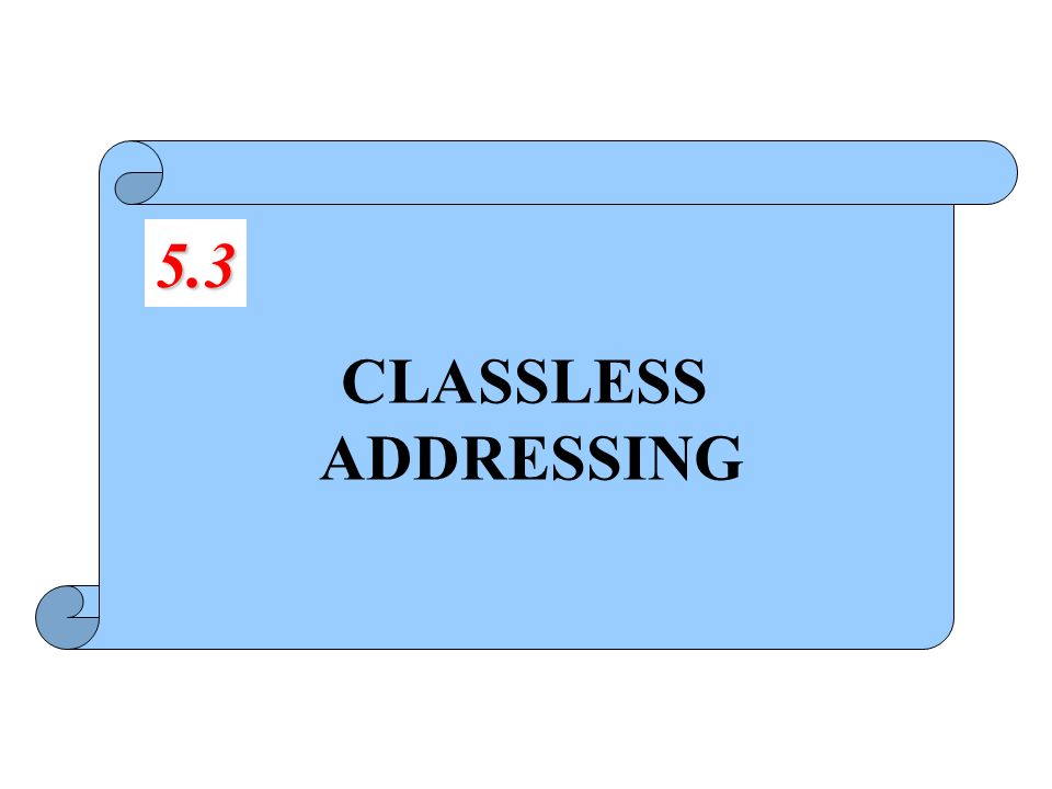 CLASSLESS ADDRESSING 5.3