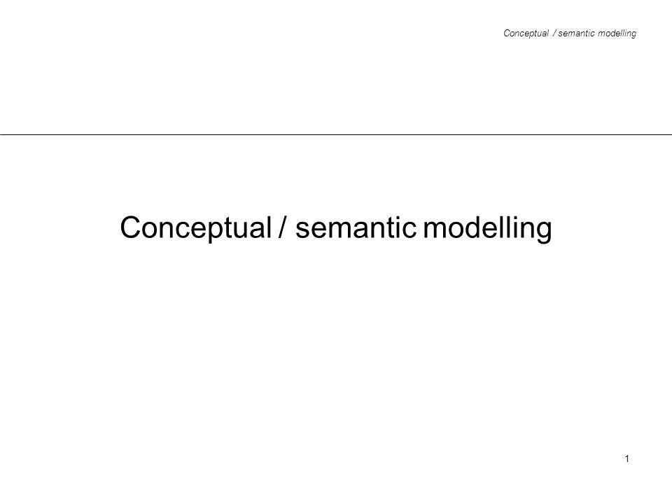 Conceptual / semantic modelling 12 ER diagram - attributes (UML) Student name {PPK} dOB {PPK} day month year sex /age address no code city telNo[1..*] course /fees