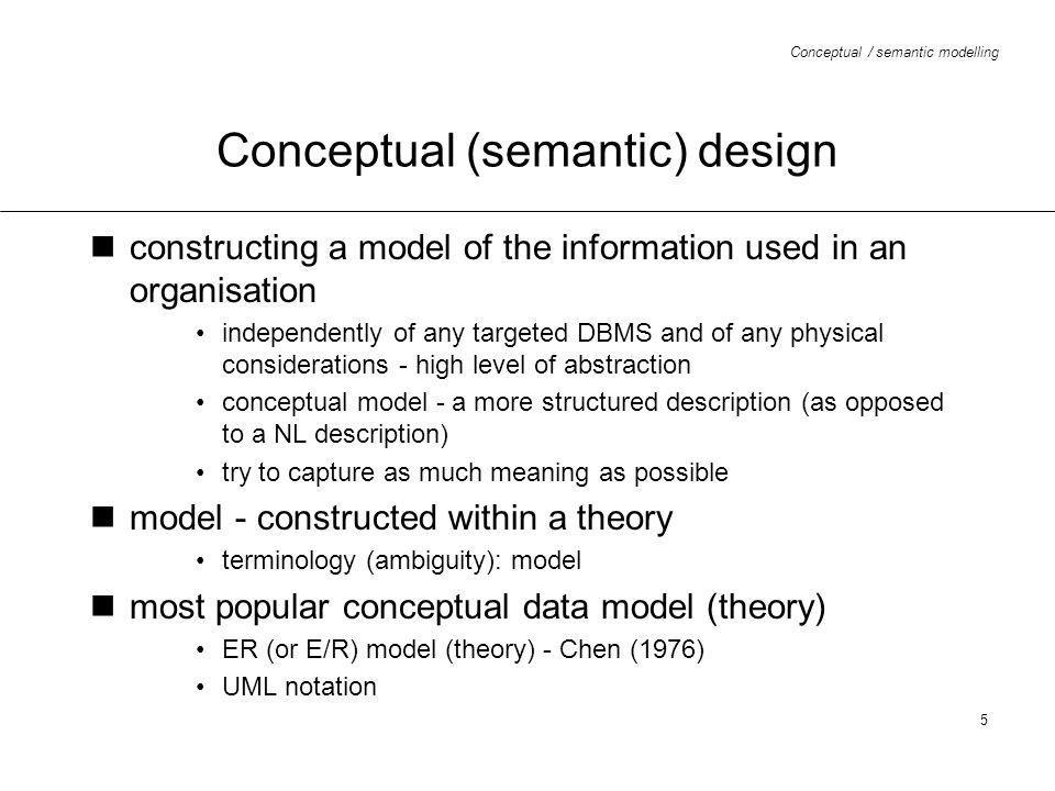 Conceptual / semantic modelling 16 ER diagram - binary relationships (before)