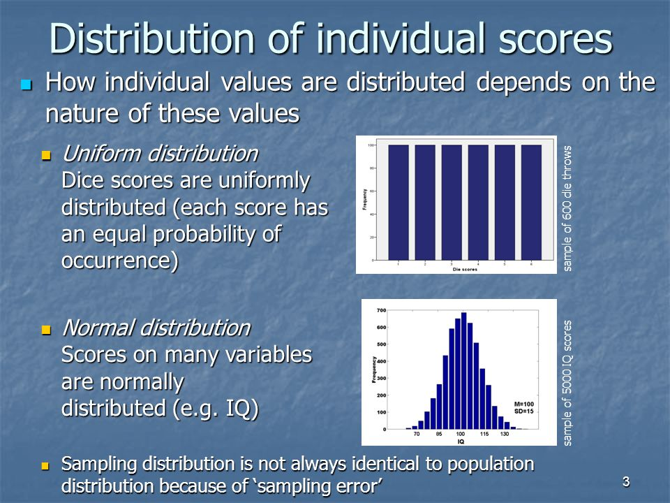 3 Distribution of individual scores How individual values are distributed depends on the nature of these values How individual values are distributed depends on the nature of these values Uniform distribution Dice scores are uniformly distributed (each score has an equal probability of occurrence) Uniform distribution Dice scores are uniformly distributed (each score has an equal probability of occurrence) Normal distribution Scores on many variables are normally distributed (e.g.