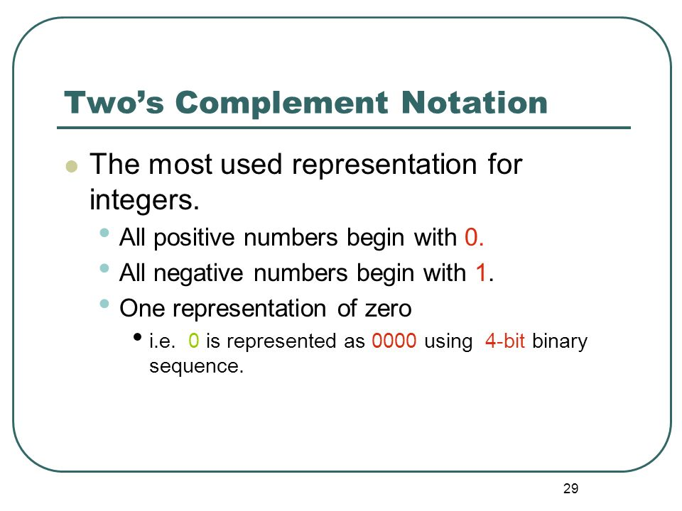 29 Twos Complement Notation The most used representation for integers. All positive numbers begin with 0. All negative numbers begin with 1. One repre