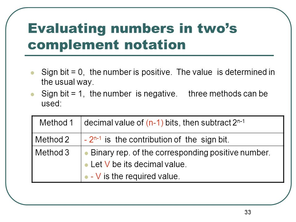 33 Evaluating numbers in twos complement notation Sign bit = 0, the number is positive. The value is determined in the usual way. Sign bit = 1, the nu