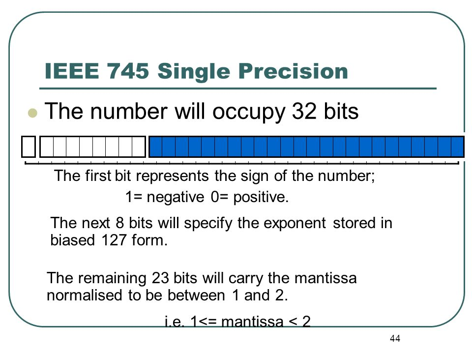 44 IEEE 745 Single Precision The number will occupy 32 bits The first bit represents the sign of the number; 1= negative 0= positive. The next 8 bits
