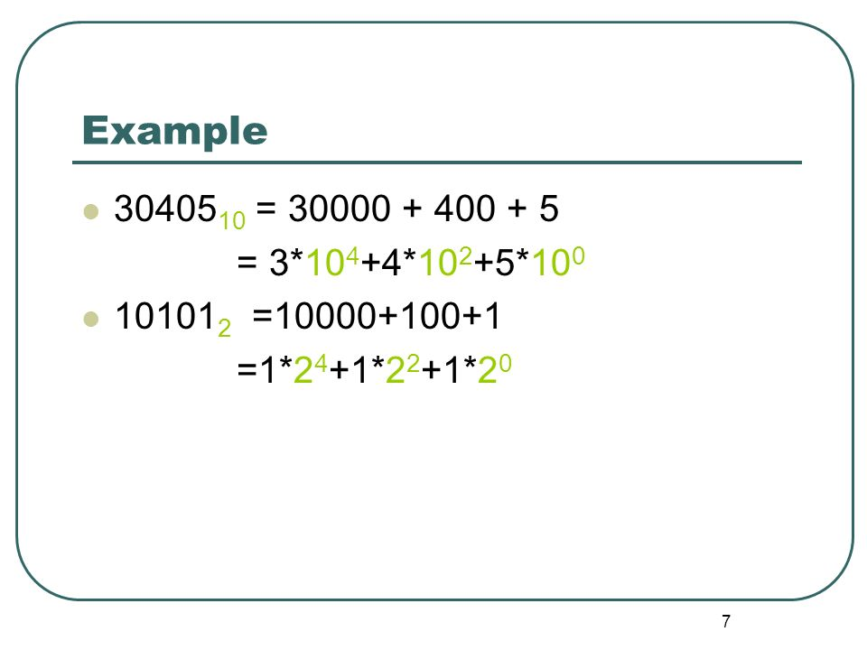 28 Excess notation - Summary In excess notation, the value represented is the unsigned value with a fixed value subtracted from it.