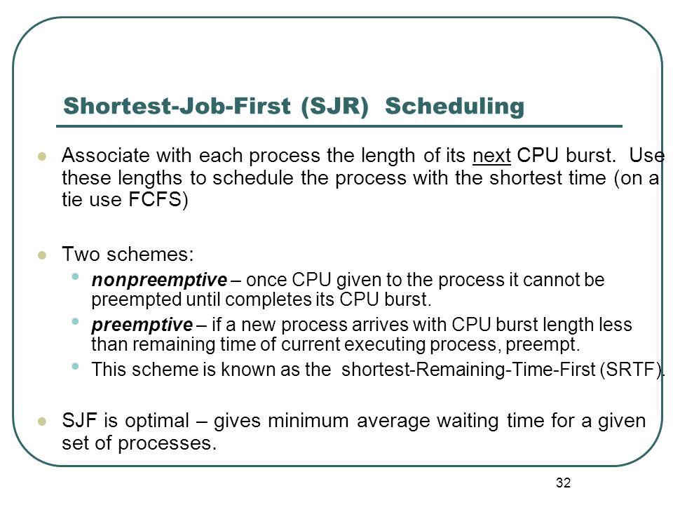 32 Shortest-Job-First (SJR) Scheduling Associate with each process the length of its next CPU burst. Use these lengths to schedule the process with th