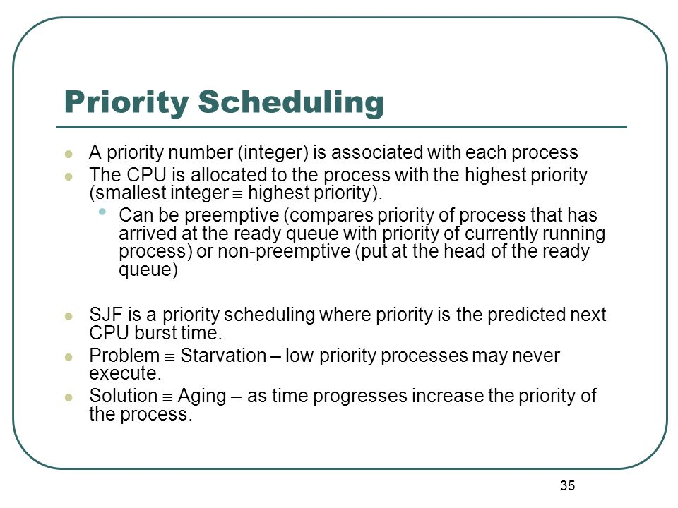 35 Priority Scheduling A priority number (integer) is associated with each process The CPU is allocated to the process with the highest priority (smal