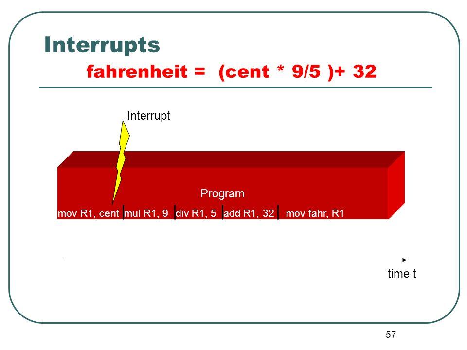 57 Interrupts fahrenheit = (cent * 9/5 )+ 32 Interrupt Program time t mov R1, centmul R1, 9div R1, 5add R1, 32mov fahr, R1