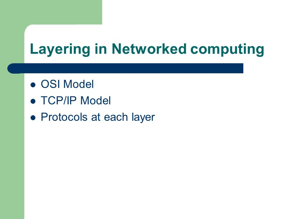 Layering in Networked computing OSI Model TCP/IP Model Protocols at each layer