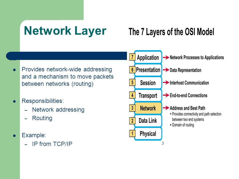 Network Layer Provides network-wide addressing and a mechanism to move packets between networks (routing) Responsibilities: – Network addressing – Rou