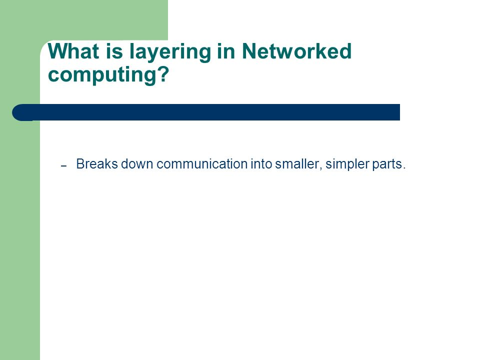 What is layering in Networked computing? – Breaks down communication into smaller, simpler parts.
