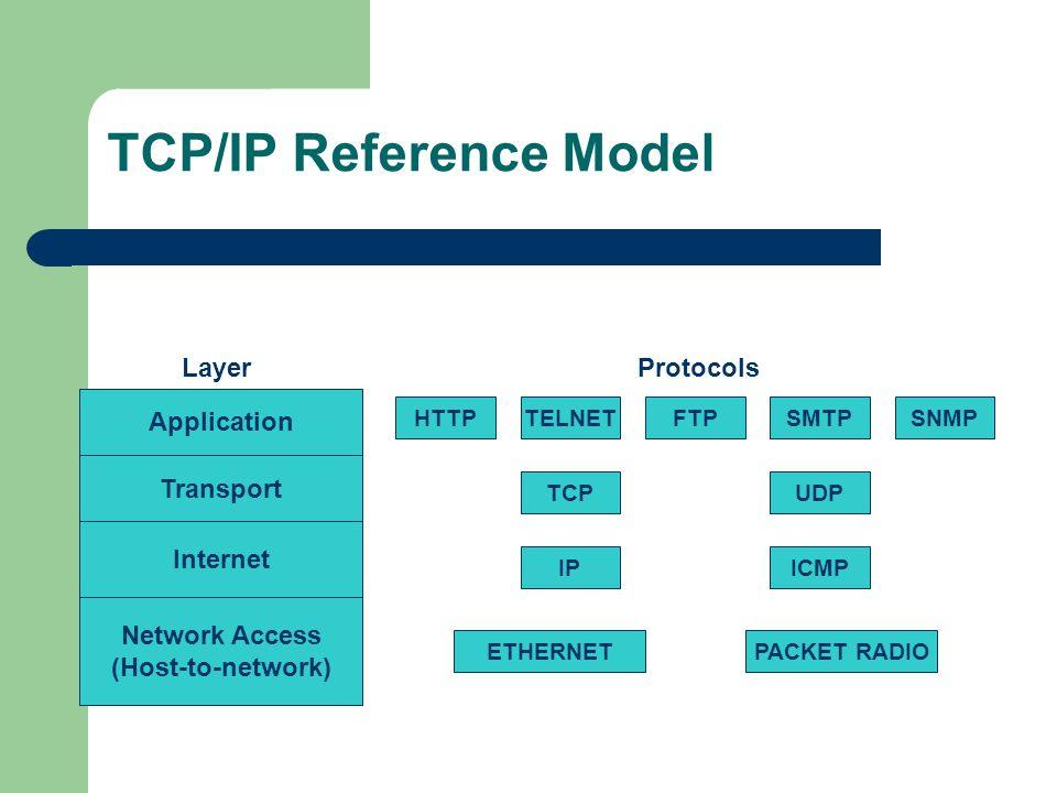 TCP/IP Reference Model Application Transport Internet Network Access (Host-to-network) Layer HTTPTELNETFTPSMTPSNMP Protocols TCPUDP IPICMP ETHERNETPACKET RADIO