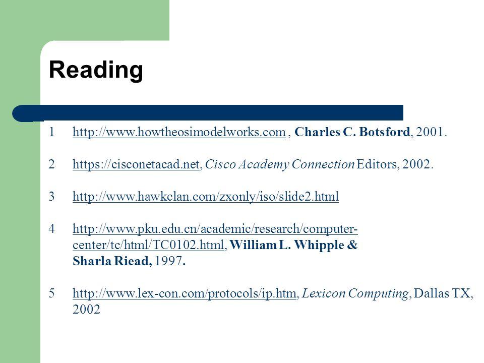 Reading 1http://www.howtheosimodelworks.com, Charles C. Botsford, 2001.http://www.howtheosimodelworks.com 2https://cisconetacad.net, Cisco Academy Con