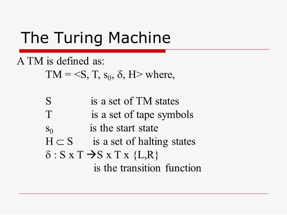 Simple TM Examples Turing Machine U+1: Given a string of 1s on a tape (followed by an infinite number of 0s), add one more 1 at the end of the string.