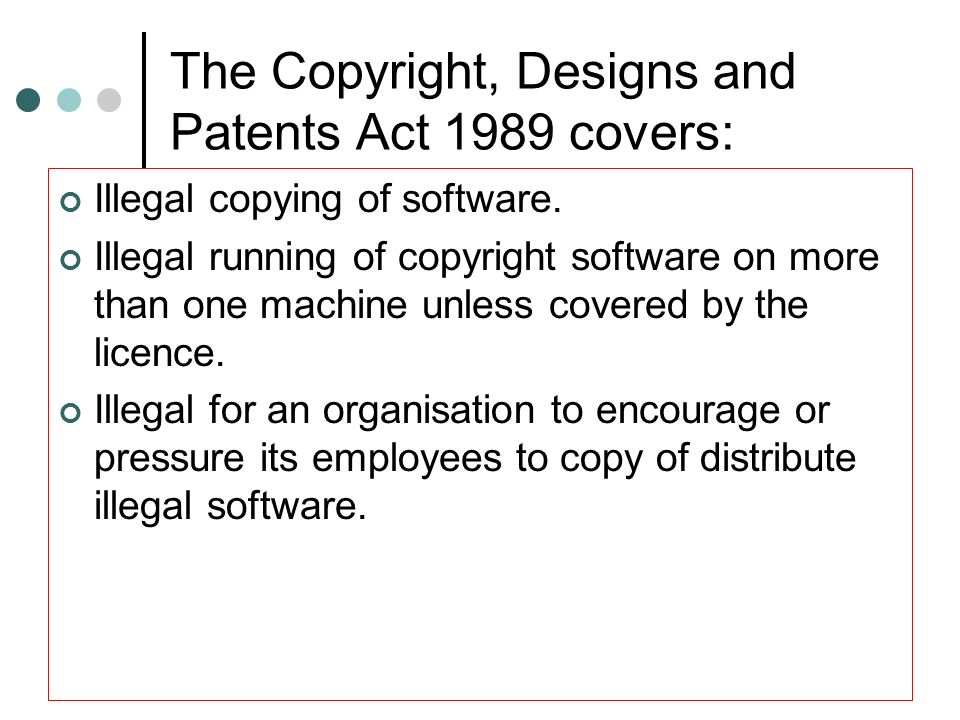 Copyright (contd) Complications related to the Internet Files containing text and images or sound recording can be rapidly transmitted through the Internet.