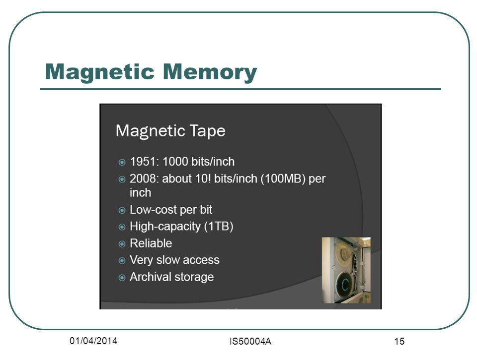 01/04/2014 IS50004A 15 Magnetic Memory